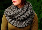 """Hand Knit Outlander Inspired Claire's Mobius Super Soft Cowl in Brown Marble, Chunky Knit, Infinity Scarf"""