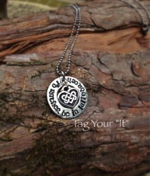 "Handstamped pewter necklace- ""I'd rather be in Lallybroch"""