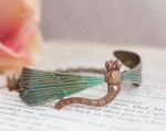 WILD DRAGONFLY Claire Natural Brass Cuff Bracelet Hand Painted Dragonfly
