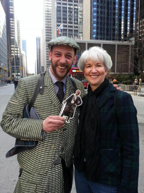 Grand Marshal Howie Nicholsby (Founder of 21st Century Kilts in Edinburgh, Scotland) and Mary Keir, Tartan Day Parade NYC, 4-5-14