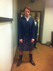 Sam Heughan backstage at 2013 BAFTAs